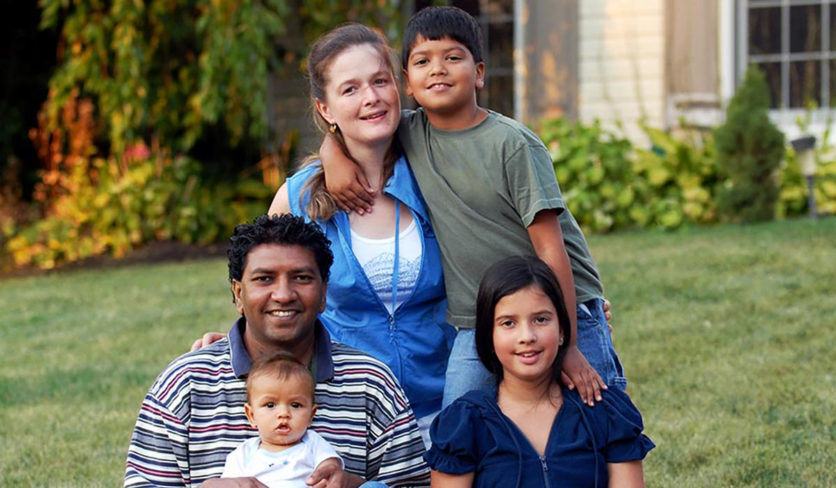 multicultural family with adopted children