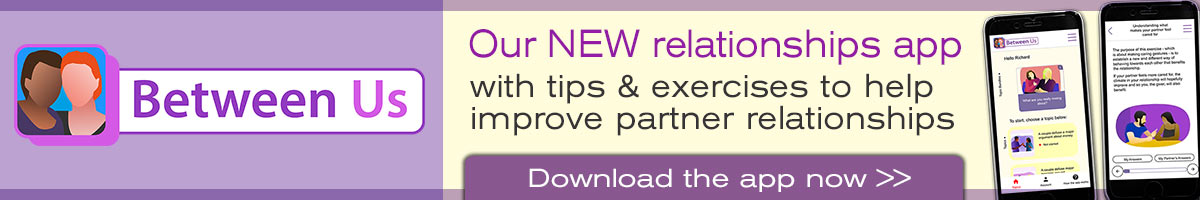 Between Us the new app from Tavistock Relationships with tips and exercises to improve partner relationships